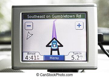 Navigation system  - GPS navigation system in traveling car