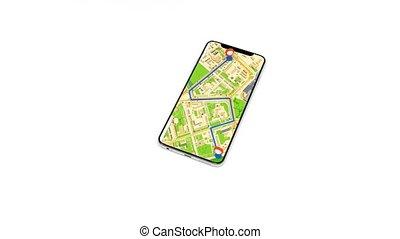 navigation, utilisation, téléphone, navigateur, obtenir, gps