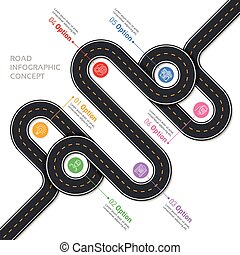 Navigation vector map infographic template. Winding road.