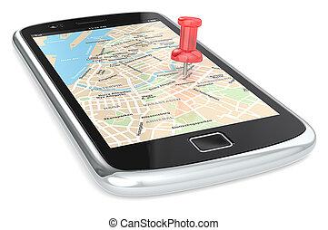 Navigation via Smart phone. - Black Smartphone with a GPS...