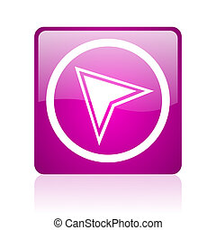 navigation violet square web glossy icon