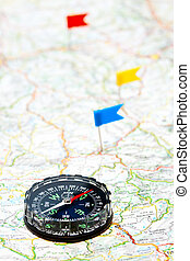 Navigation with compass - Compass on map with color flag ...