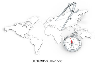 Navigation. - World Map in 3D. Steel Divider and Compass.