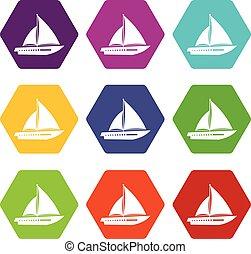 navigation yacht, icône, ensemble, couleur, hexahedron