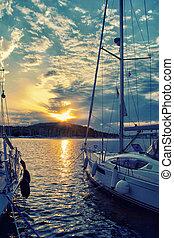 navigation yacht, surprenant, coucher soleil, luxe, mer, pendant, bateau, bateau