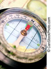 navigational, 指南針, 上, topographical地圖