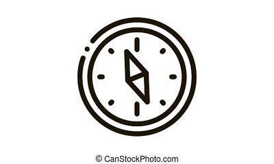 Navigational Compass Tool Icon Animation. black Compass Searching Way, Direction And Orientation Equipment animated icon on white background