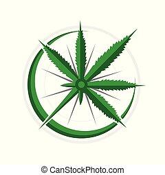navigational, símbolo, cannabis, desenho, aventura, compasso, 3d