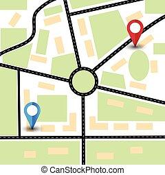 navigations., global, bestämmelseorter, markör, abstrakt, karta, stad, pins.