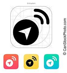 navigationsoffizier, vektor, signal, icon., illustration.