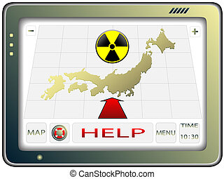The navigator with the image of a map of Japan and a sign on radioactive danger