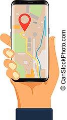 Navigator application on smartphone mock up.