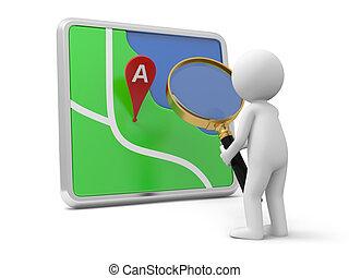navigator - A 3d person watching a navigator with a...