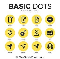 Navigator flat icons vector set