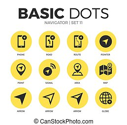Navigator flat icons vector set