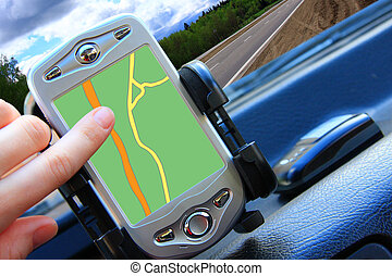 navigator pocket pc display inside car