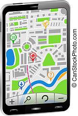 navigatore, smartphone