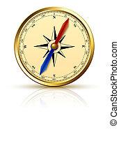 navigazione, bussola, dorato, emblema