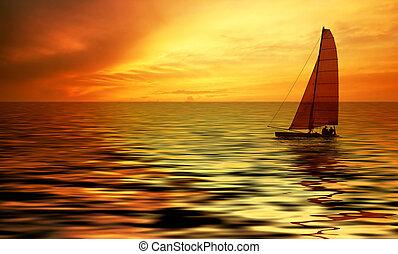 navigazione, e, tramonto