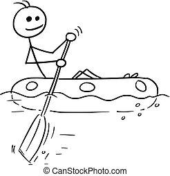 navigazione, gomma, vettore, bastone, cartone animato, barca, uomo