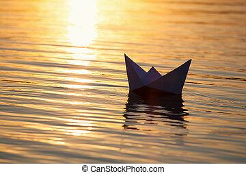 navigazione, increspature, acqua, carta, onde, barca