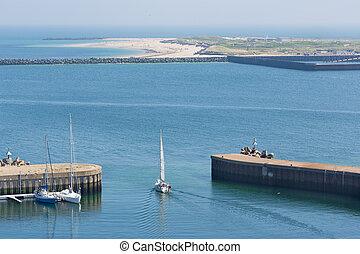 navigazione, isola porto, helgoland, abbandono, tedesco, nave, northsea.
