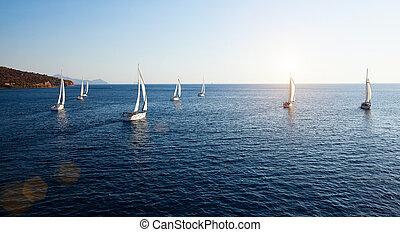 navigazione, regata, panorama