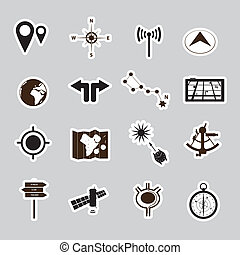 navigazione, set, adesivi, eps10