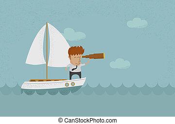navigazione, uomo, dall'aspetto, affari