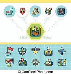 navigazione, vettore, set, icona