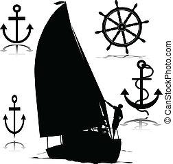 navigazione, vettore, silhouette