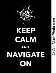 navigeren, bewaren, kalm, poster