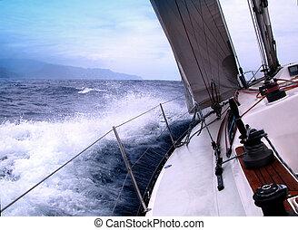 navigieren, mit, guten, wind