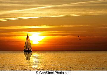 naviguer coucher soleil