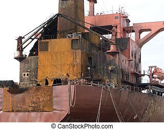 navio, óleo, queimado