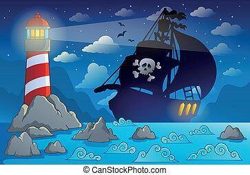 navio, 2, silueta, pirata, costa