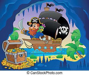 navio, 3, tema, imagem, pirata