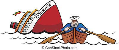 navio afundamento, capitão, fugir