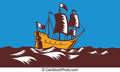 navio alto, retro, velejando, woodcut
