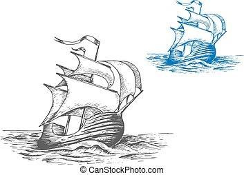 navio alto, velas, medieval, sob