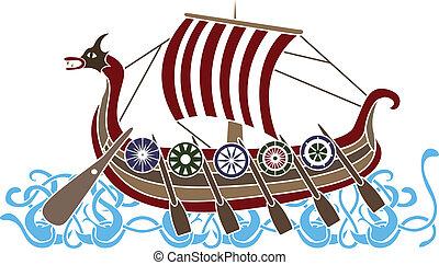 navio, antiga, escudos, vikings