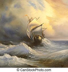 navio, antiga, mar, tempestuoso, velejando