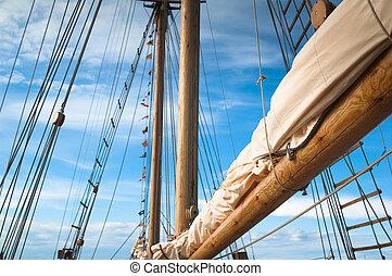 navio, antiga, velejando, mastro