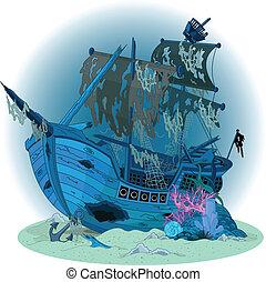 navio, antigas, fundo