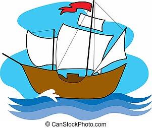 navio, antigas, velejando