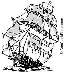 navio, arte, linha