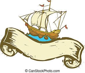 navio, bandeira, pirata