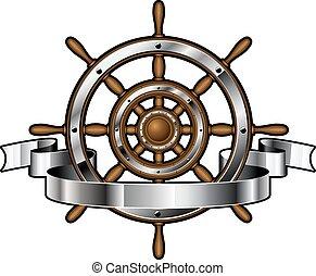 navio, bandeira, volante