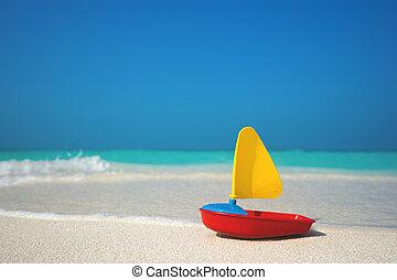 navio, brinquedo, fundo, mar