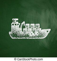 navio carga, ícone